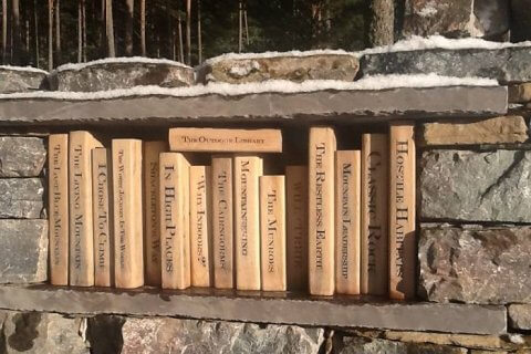 outdoor wooden library