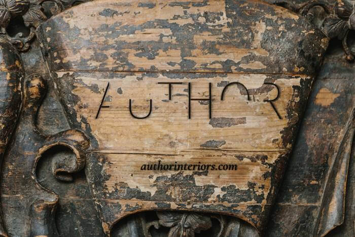 Author Interior's antique wooden sign
