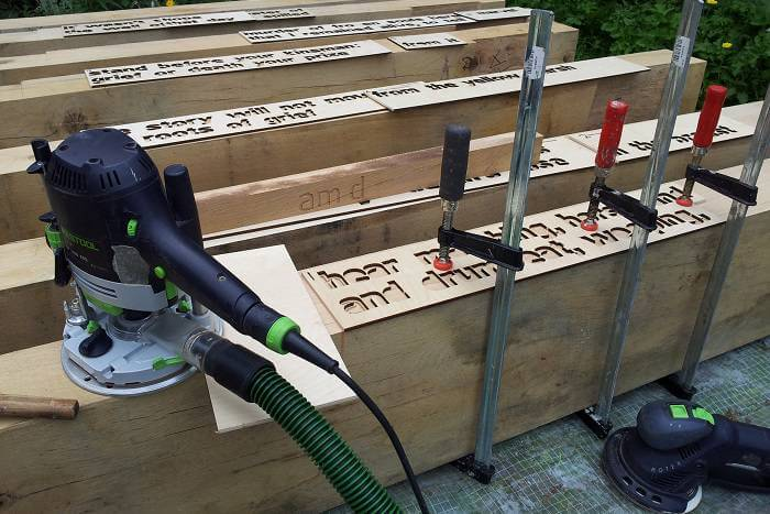 Plywood stencils for Culloden benches with Old School Fabrications