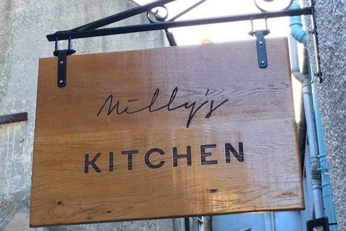 Oak signs for Milly's Kitchen