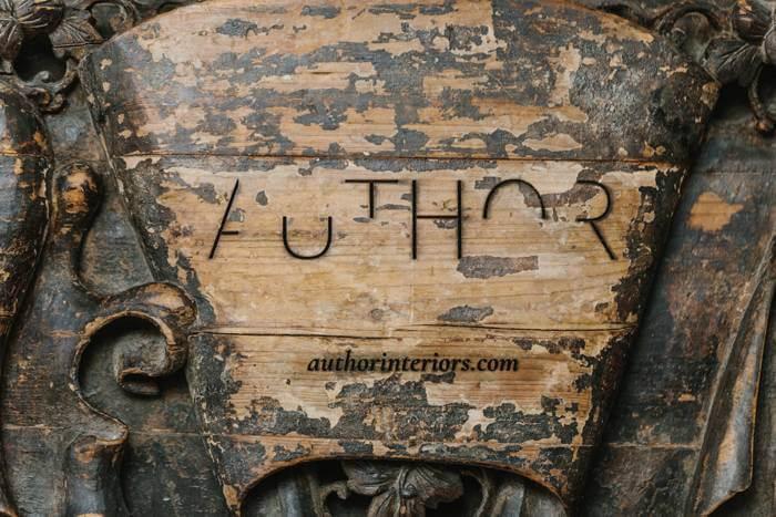 Author Interior's antique wooden sign