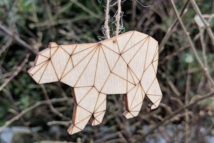 geometric plywood decorations