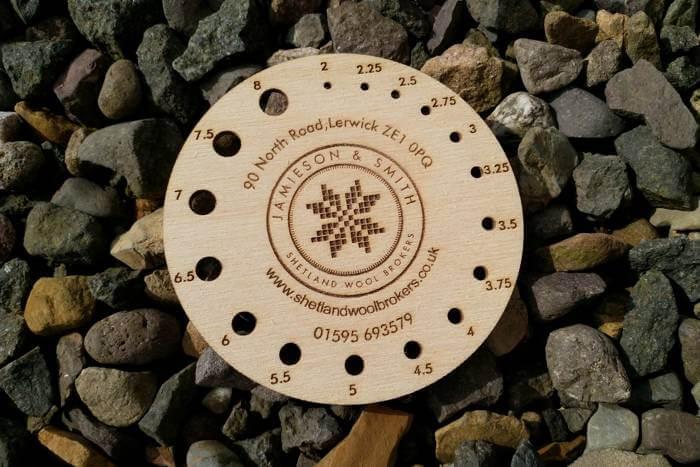 Branded plywood knitting needle gauges