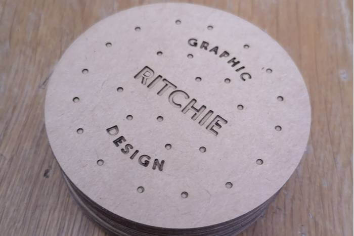 Laser cut business cards for Ritchie Design