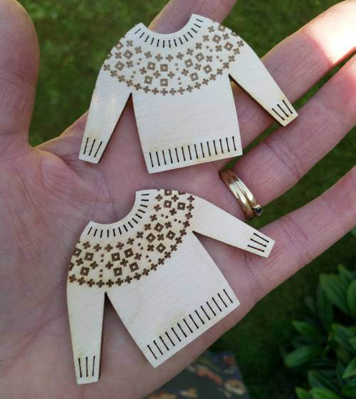 Shetland jumper brooch prototypes