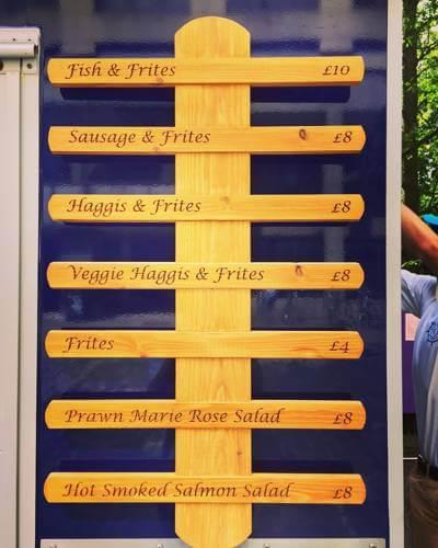 Fish & Frites wooden menu