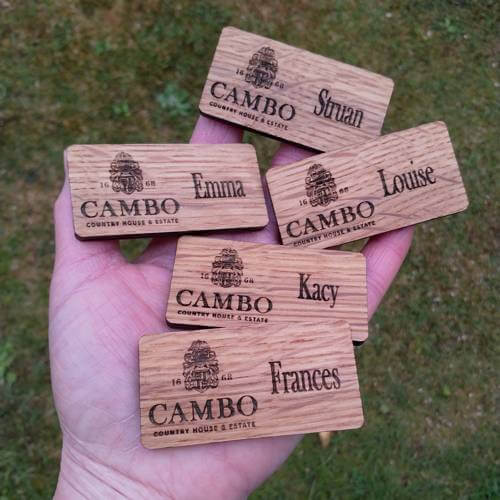 Cambo Estate wedding team badges