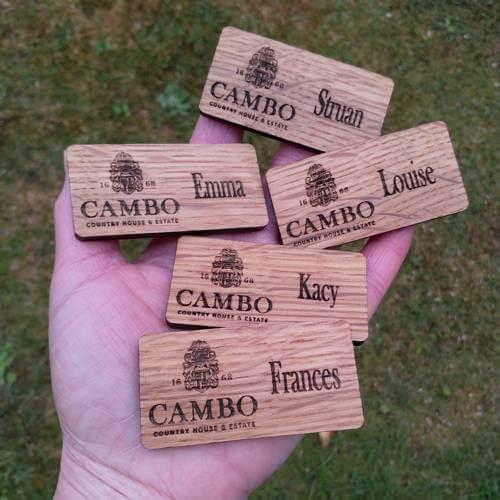 Cambo Estate wedding team badges