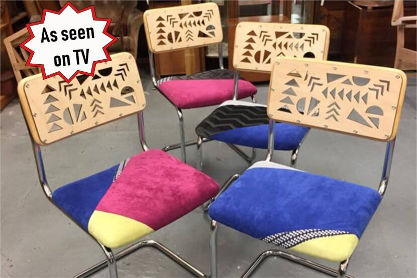 Upcycled chairs for 'Money for Nothing'