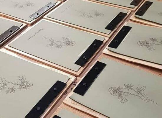 Oak and leather menu boards