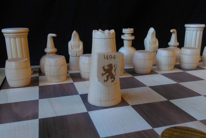 shields for Lindores Abbey chessmen