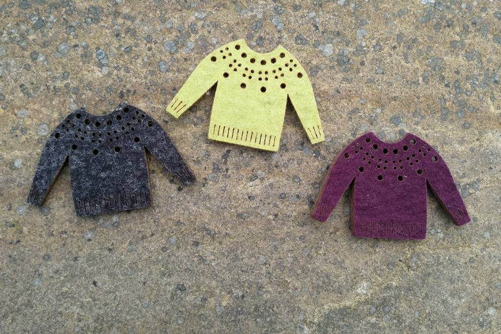 Donna Smith Designs felt fairisle jumper brooches